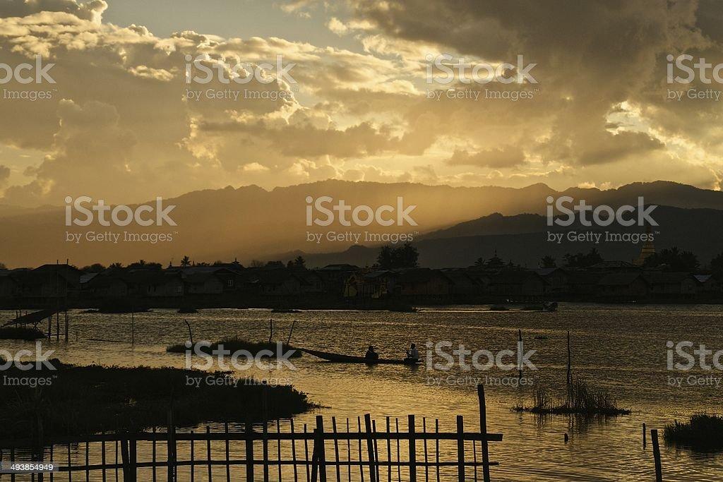 Sunset over Inle Lake, Burma royalty-free stock photo