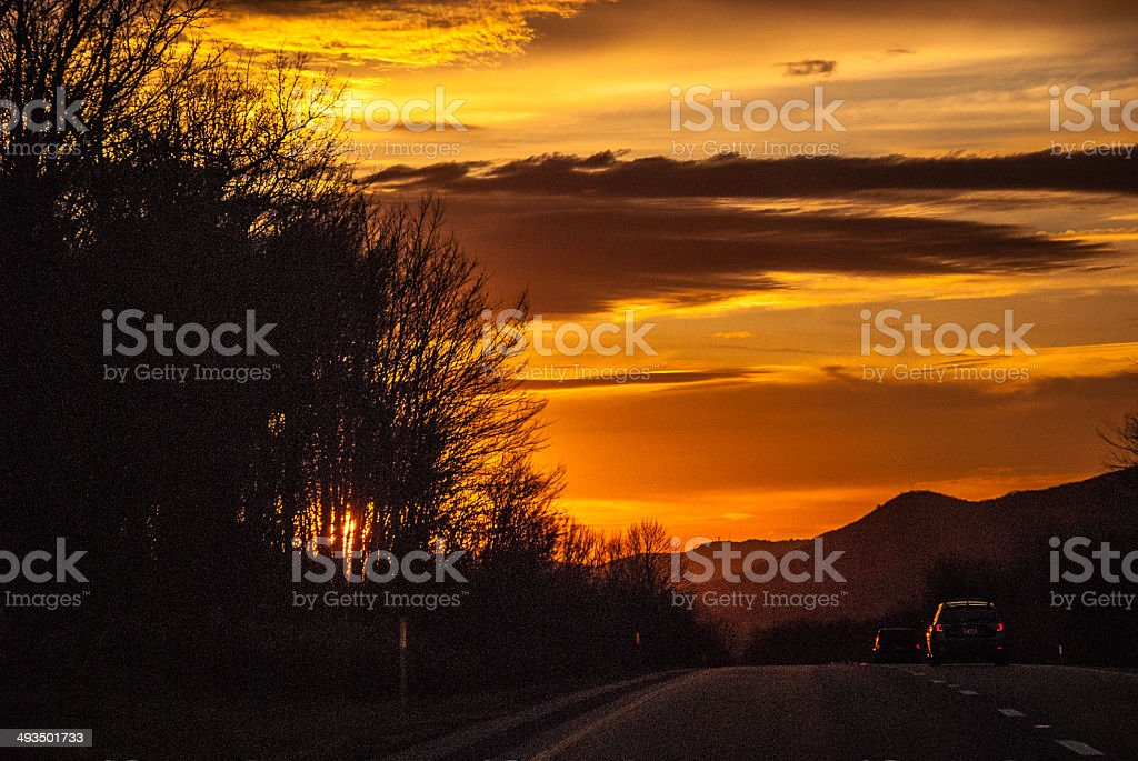 Sunset over Interstate 80 royalty-free stock photo