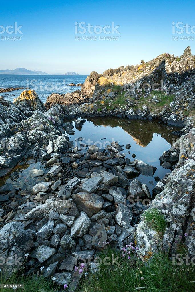 Sunset over Irish rocky coastline royalty-free stock photo