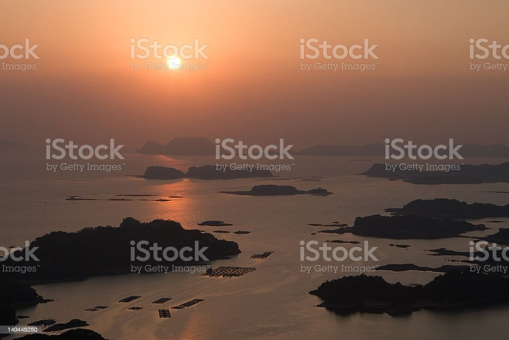 Sunset over Japanese islands as seen in