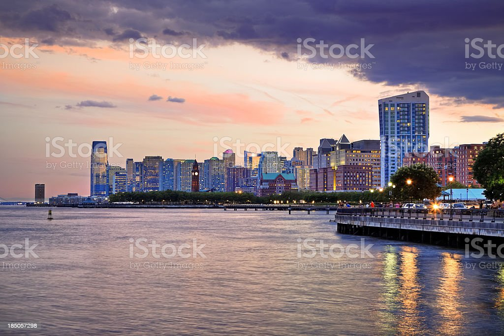 Sunset over Jersey City, NJ stock photo