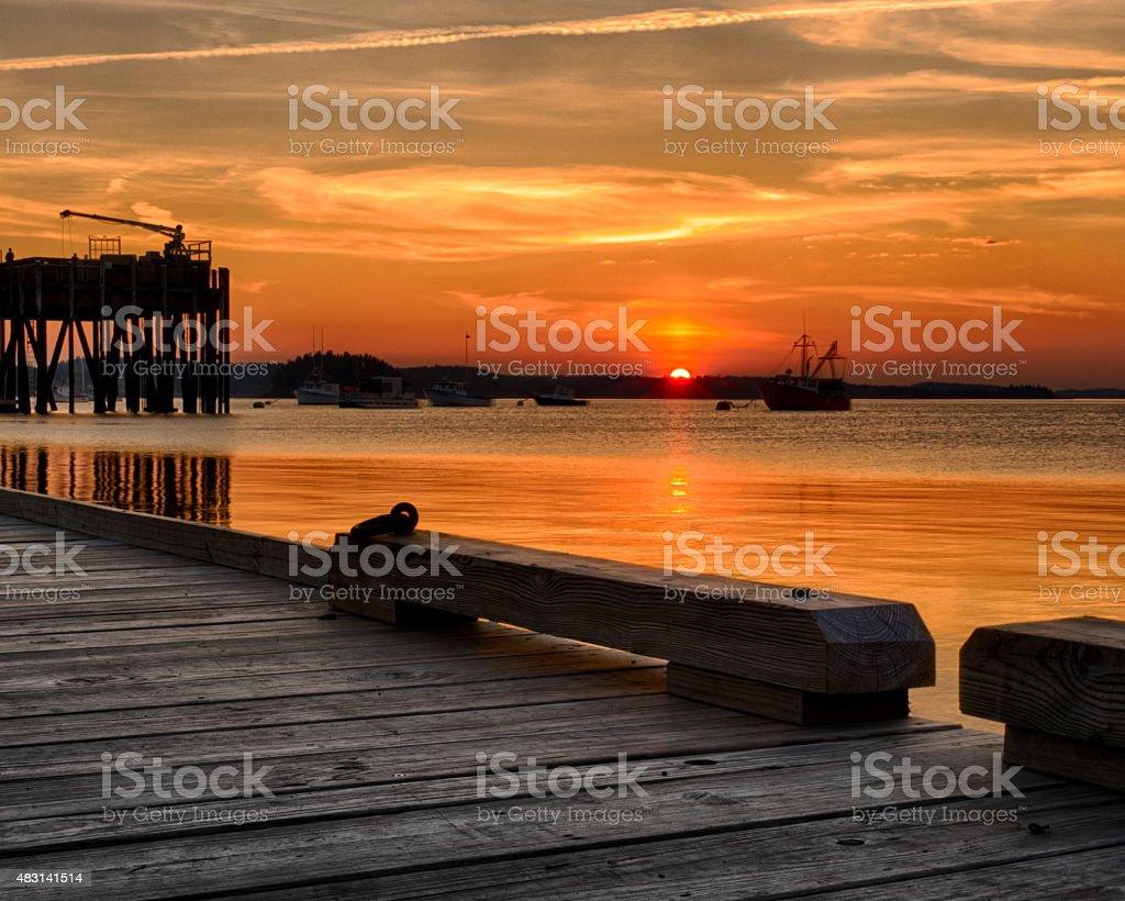 Sunset Over Johnson's Bay stock photo