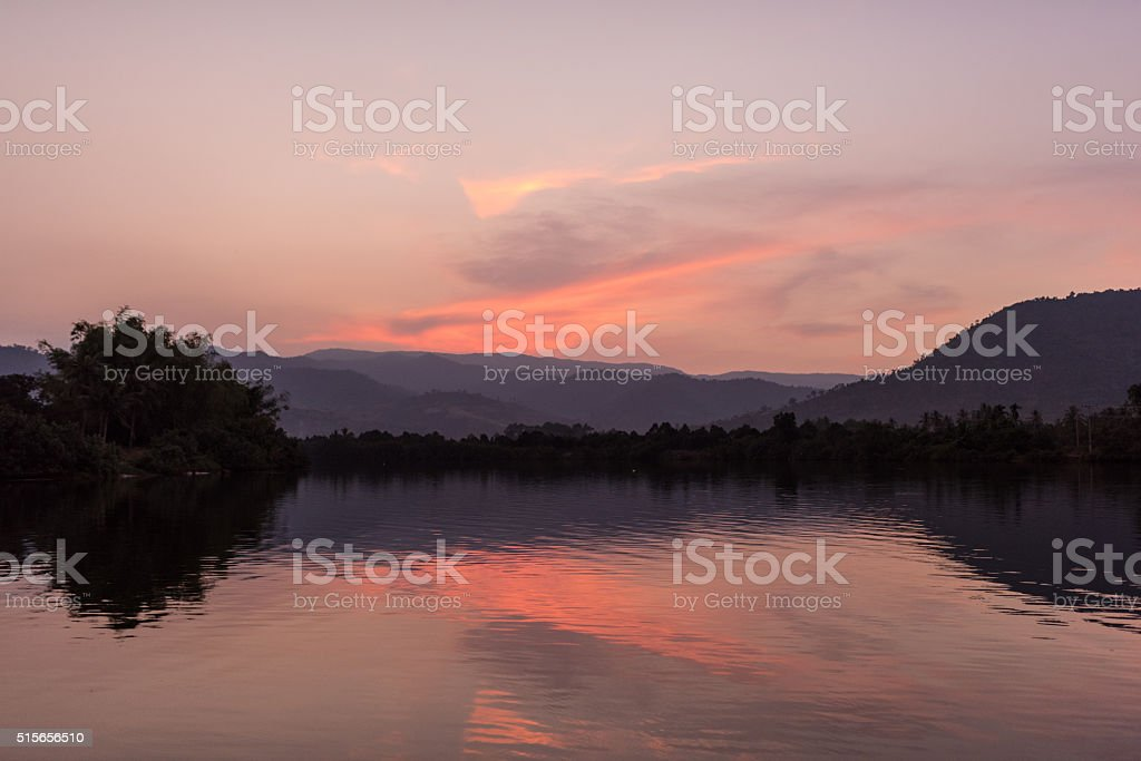 Sunset over Kampot (Cambodia) River stock photo