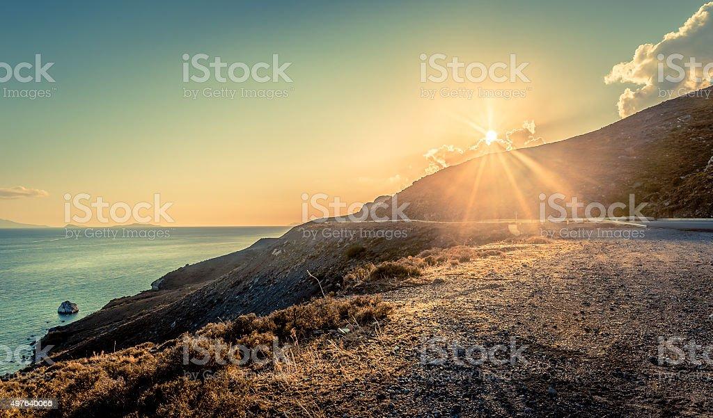 Sunset over Kos island stock photo