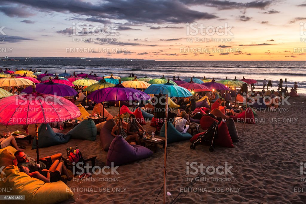 Sunset over Kuta beach stock photo