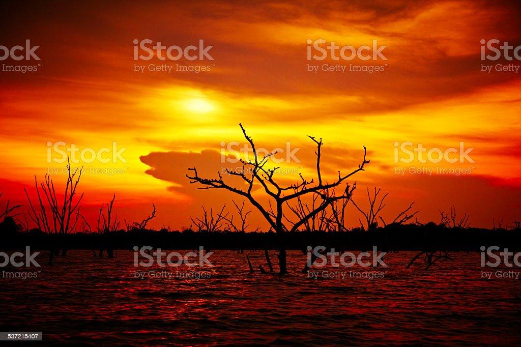 Sunset over Lake Kariba, Zimbabwe stock photo