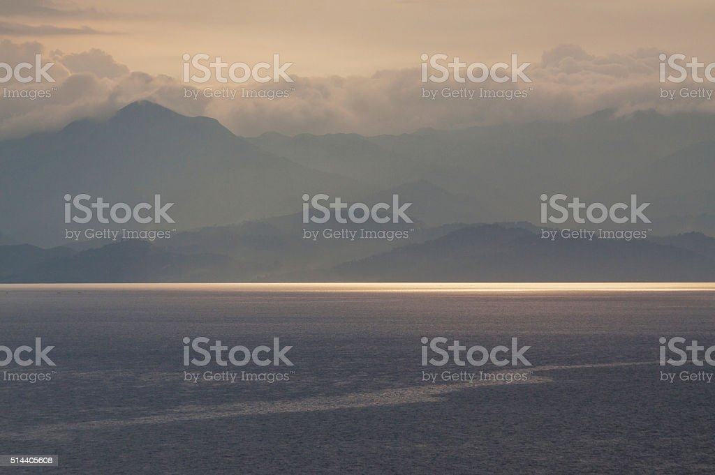 Sunset over Lake Kivu and Congo (DRC) stock photo