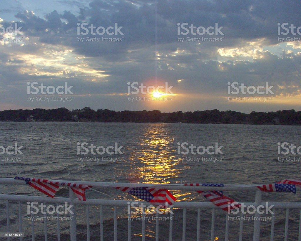 Sunset Over lake Macatawa Holland Michigan royalty-free stock photo