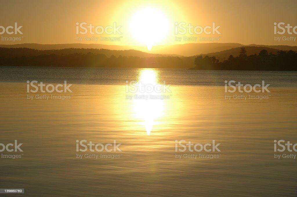 Sunset over Lake Macquarie royalty-free stock photo