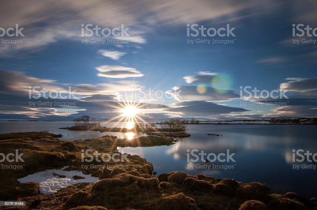 Sunset over Lake Myvatn stock photo