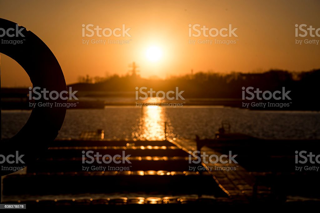 Sunset over Lake Ontario stock photo