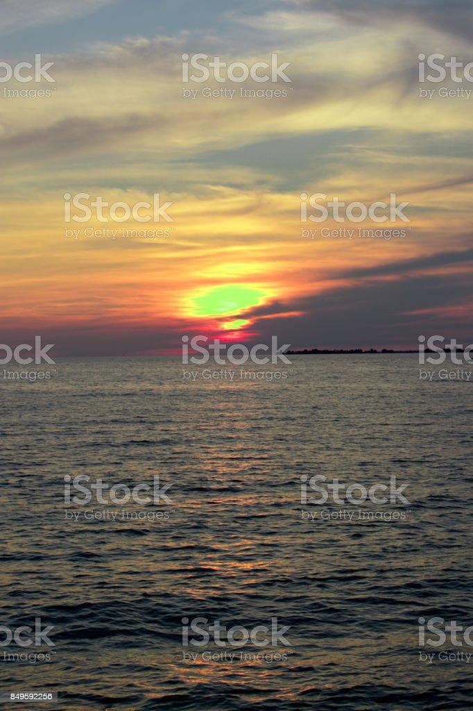 Sunset over Lake Ontario stock photo