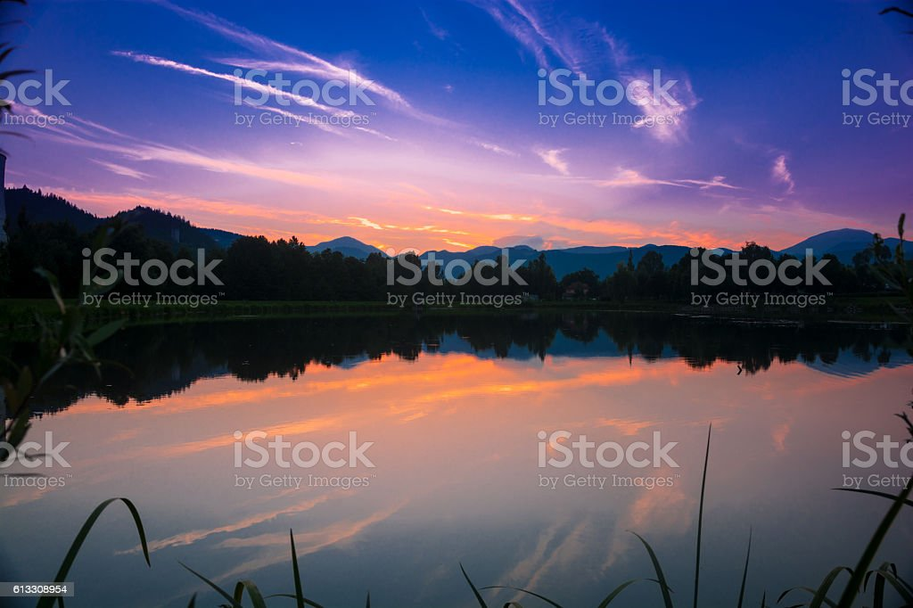 Sunset over lake stock photo