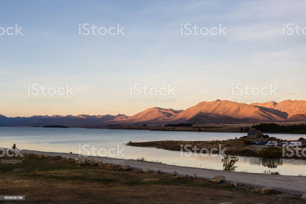 Sunset over Lake Tekapo in New Zealand stock photo