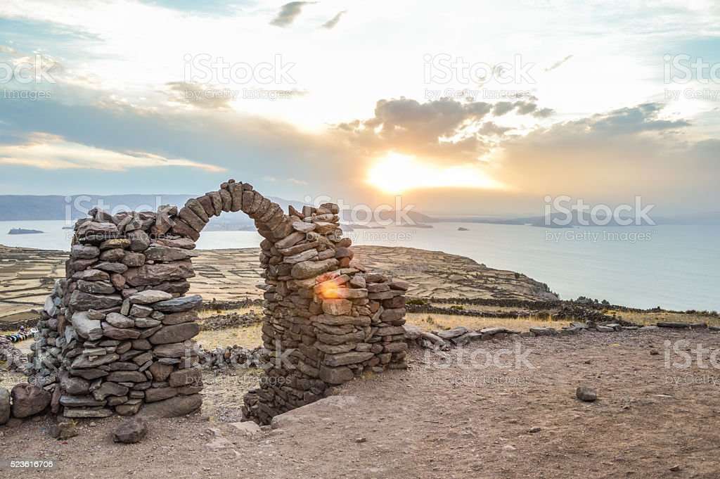 Sunset over Lake Titicaca - Taquille Island stock photo