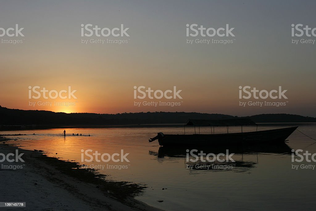 sunset over lake victoria stock photo