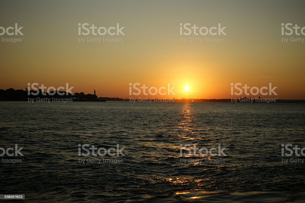 Sunset over Liberty State Park stock photo