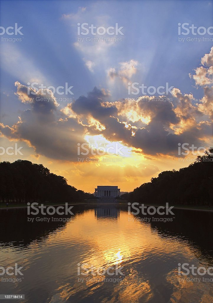 Sunset over Lincoln Memorial Washington DC stock photo