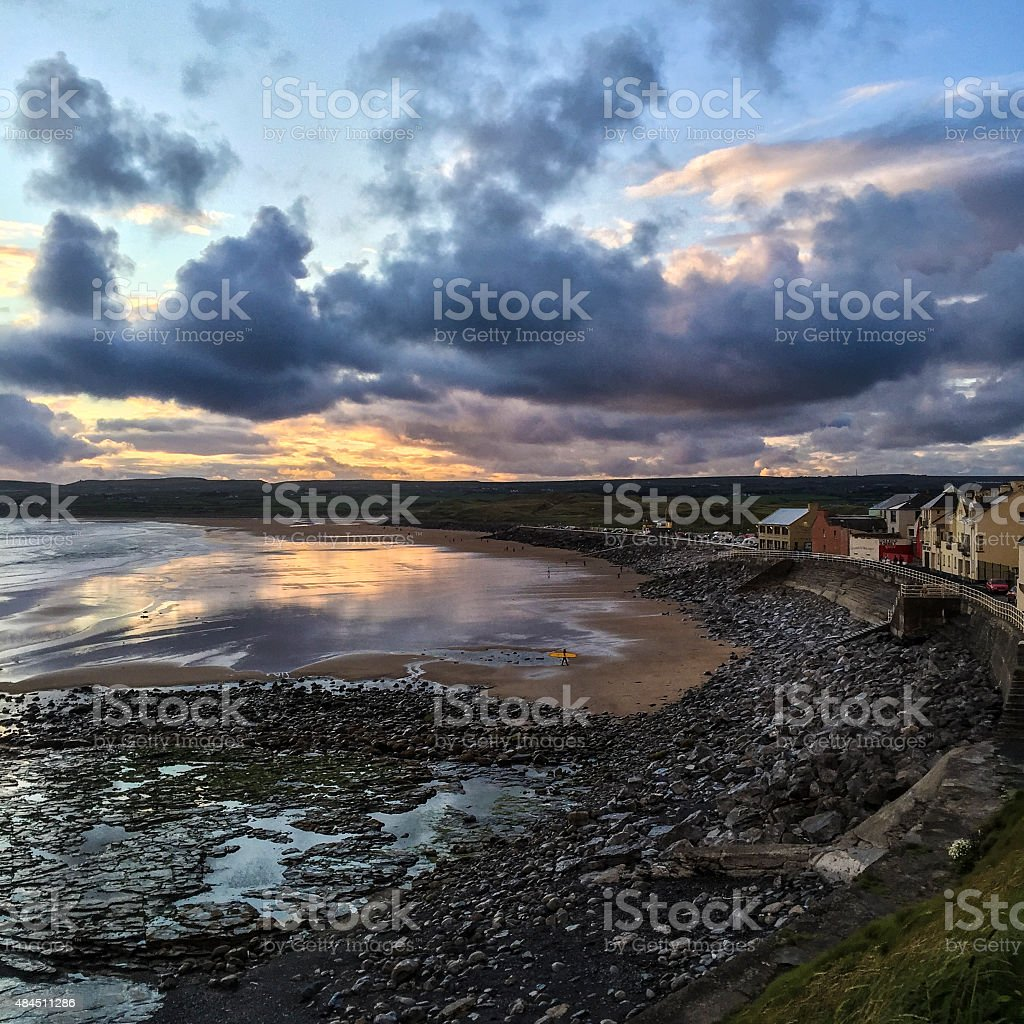 Sunset over Liscannor Bay stock photo