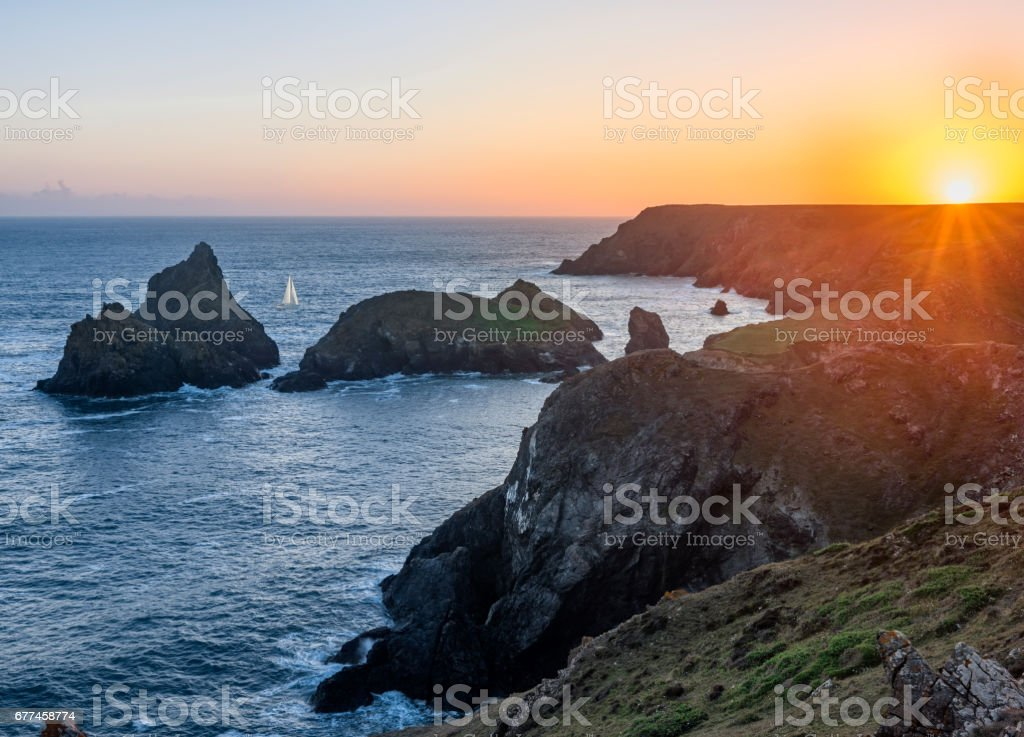 Sunset over Lizard peninsula stock photo