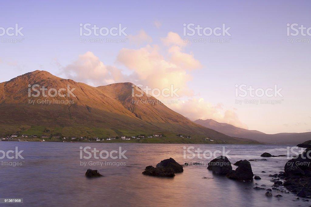 Sunset over Loch Sligachan royalty-free stock photo