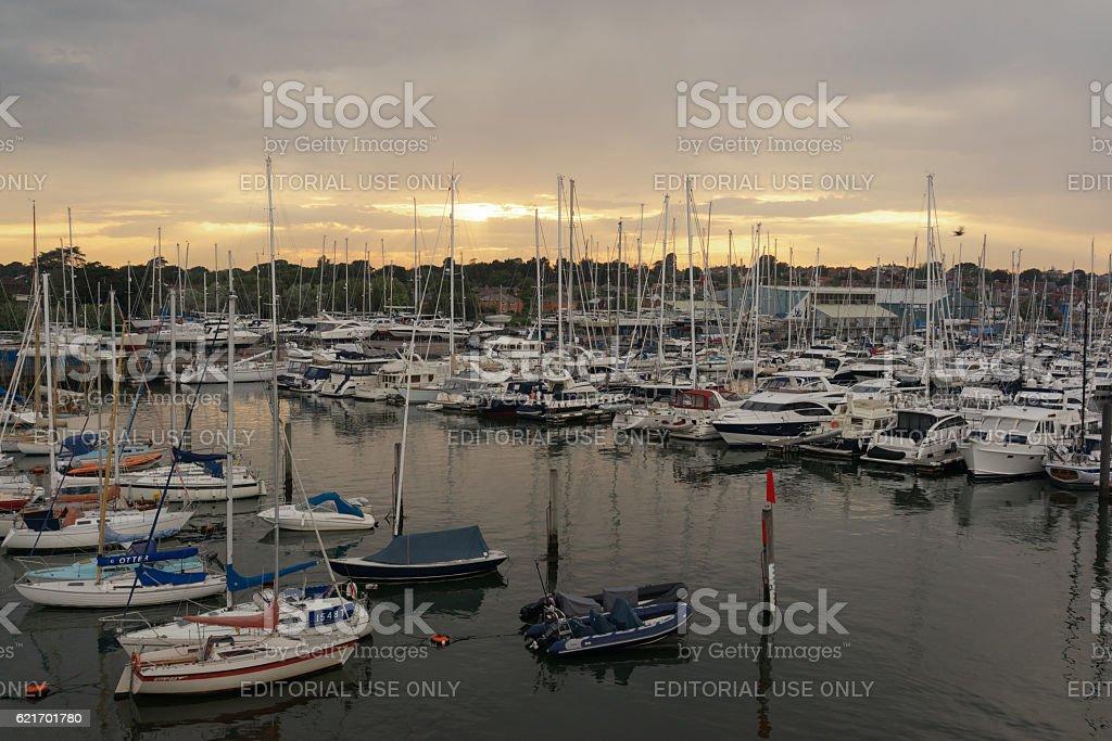 Sunset over Lymington Quay in Hampshire stock photo