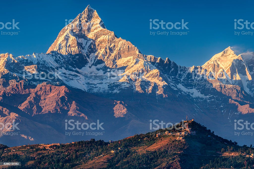 Sunset over Machapuchare seen from Pokhara, Nepal stock photo