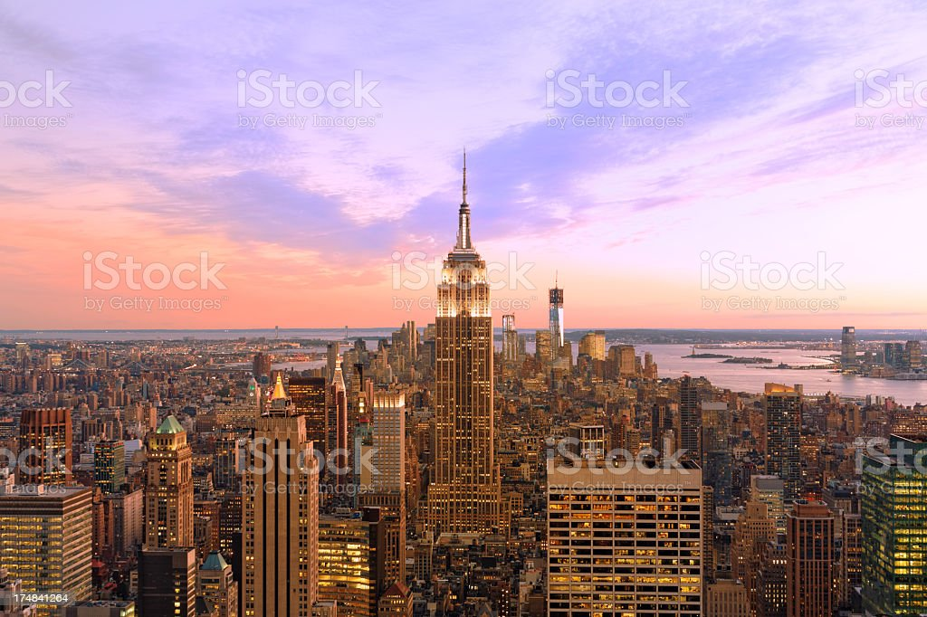 Sunset over Manhattan, NYC royalty-free stock photo