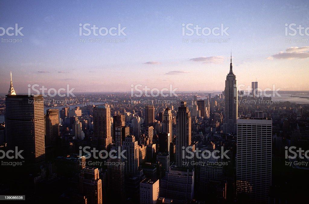 Sunset over Manhatten royalty-free stock photo