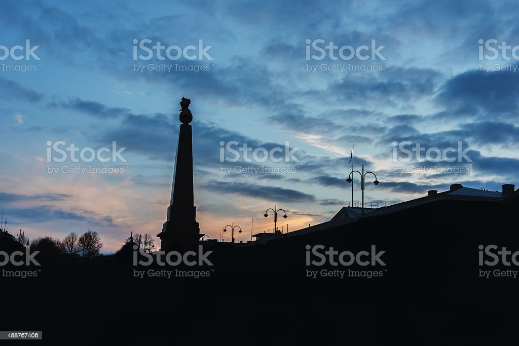 Sunset over Market Square in the old town stock photo