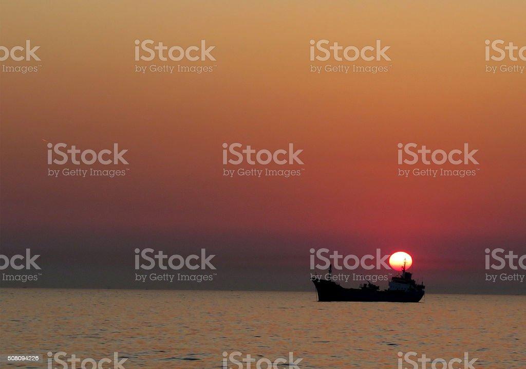 Sunset over Marmara Sea stock photo