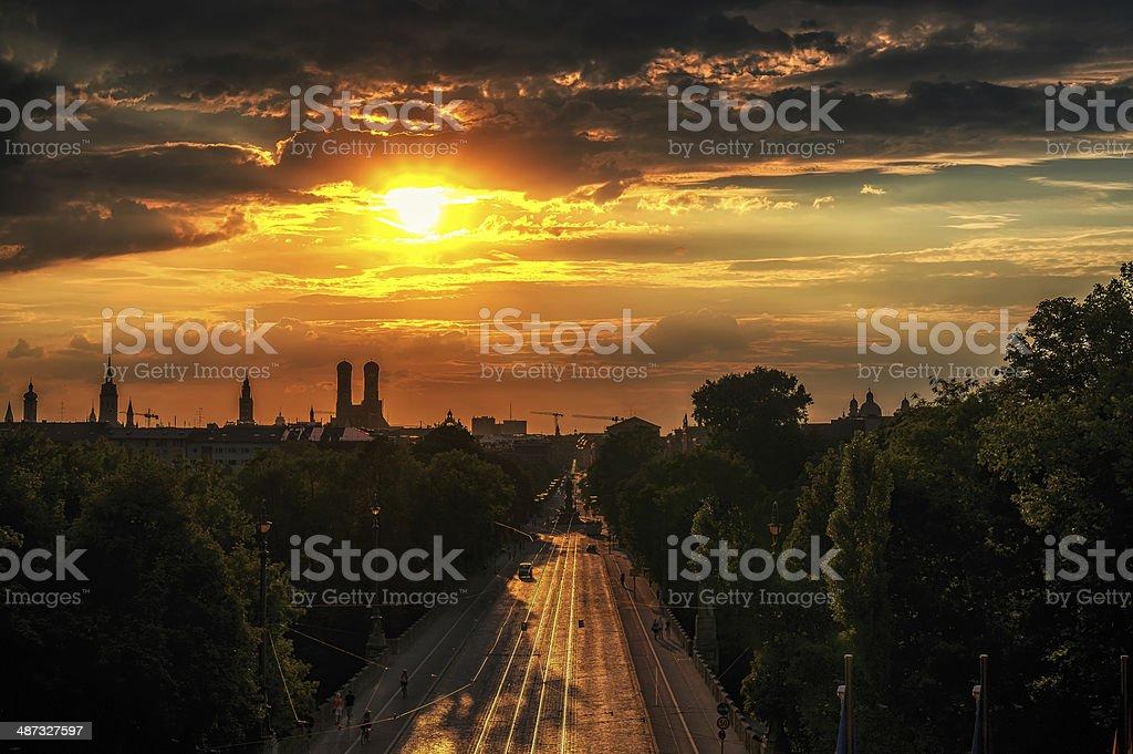 Sunset over Maximilian Street stock photo