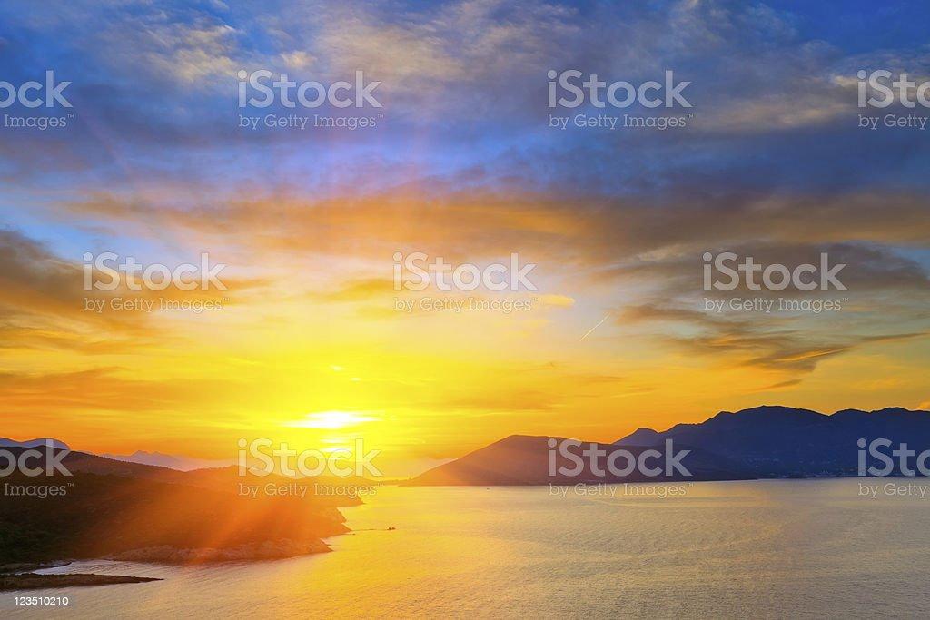Sunset over Mediterranean sea stock photo