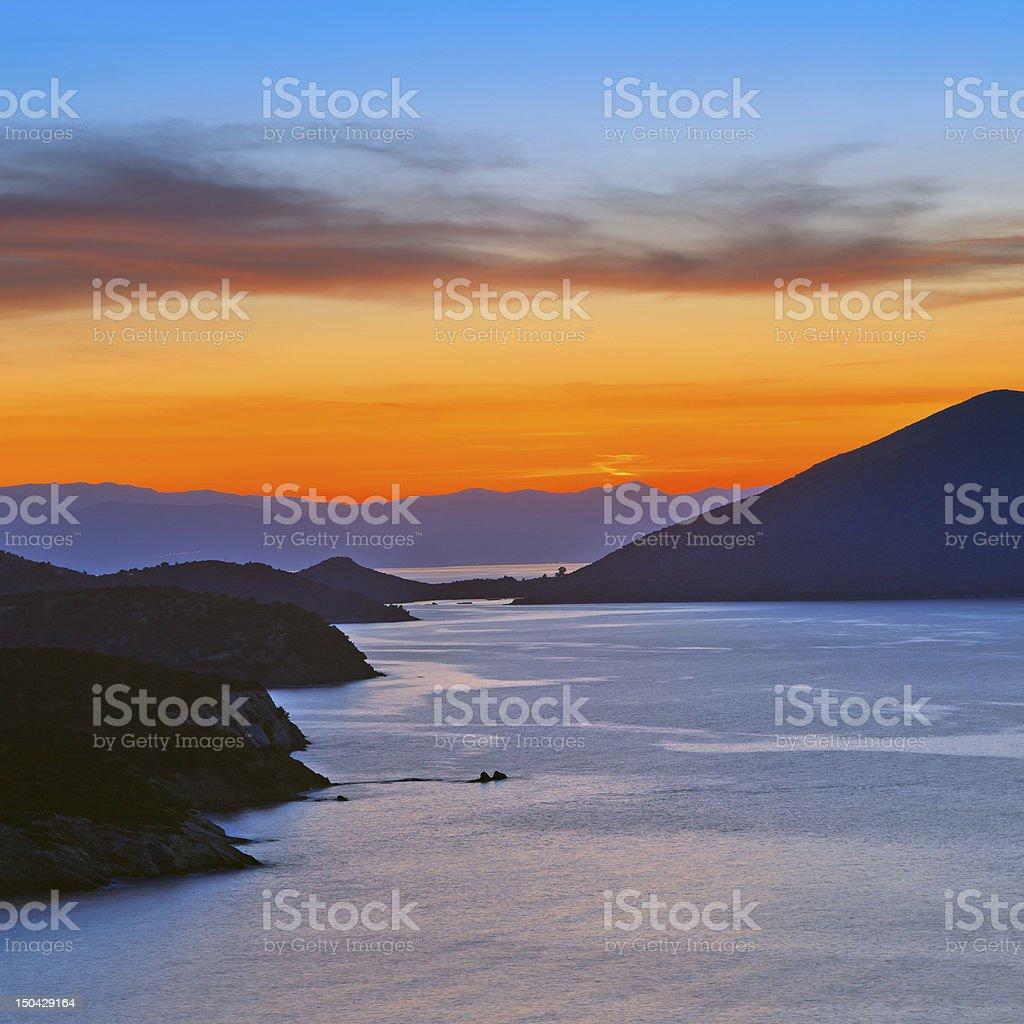 Sunset over mediterranean sea royalty-free stock photo