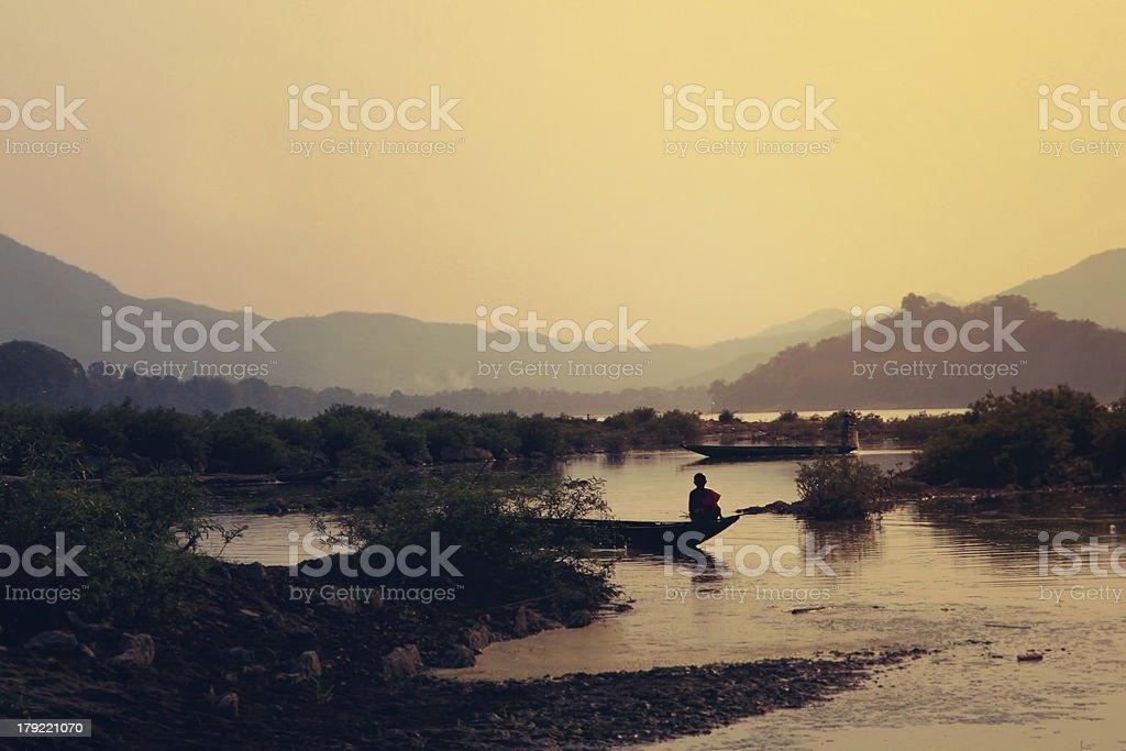 sunset over Mekong in Luang Prabang royalty-free stock photo