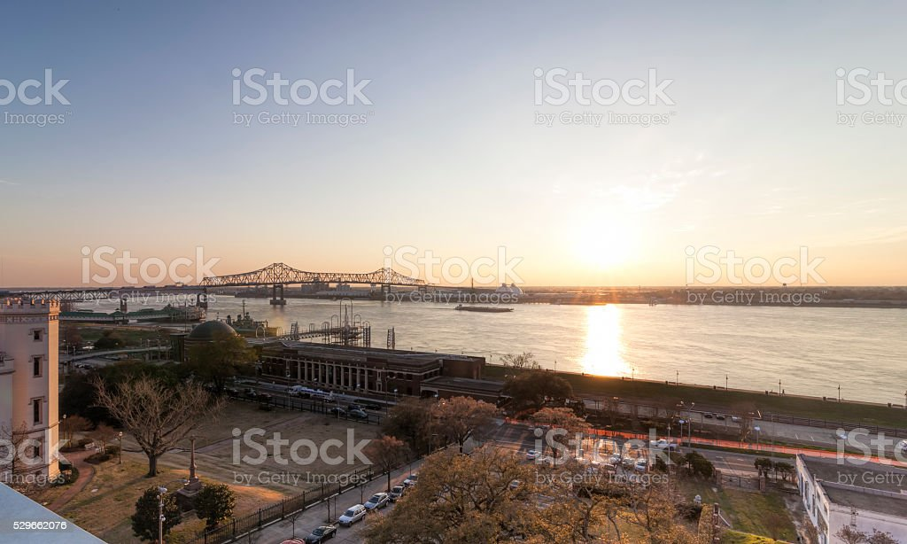 Sunset over Mississipi River stock photo