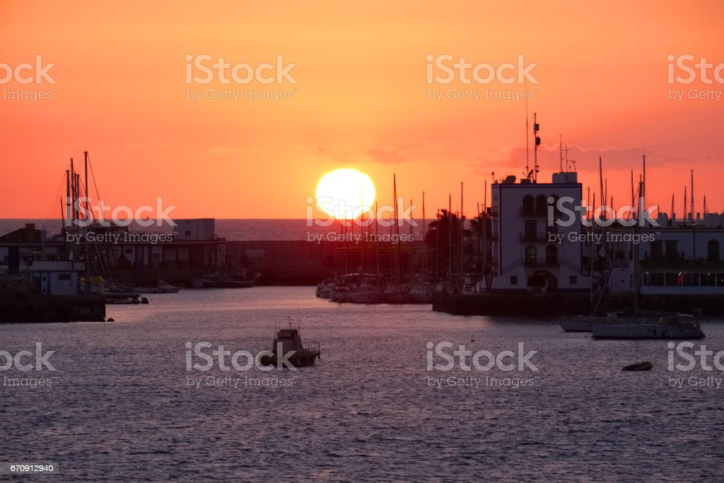 Sunset Over Mogan In Gran Canaria stock photo