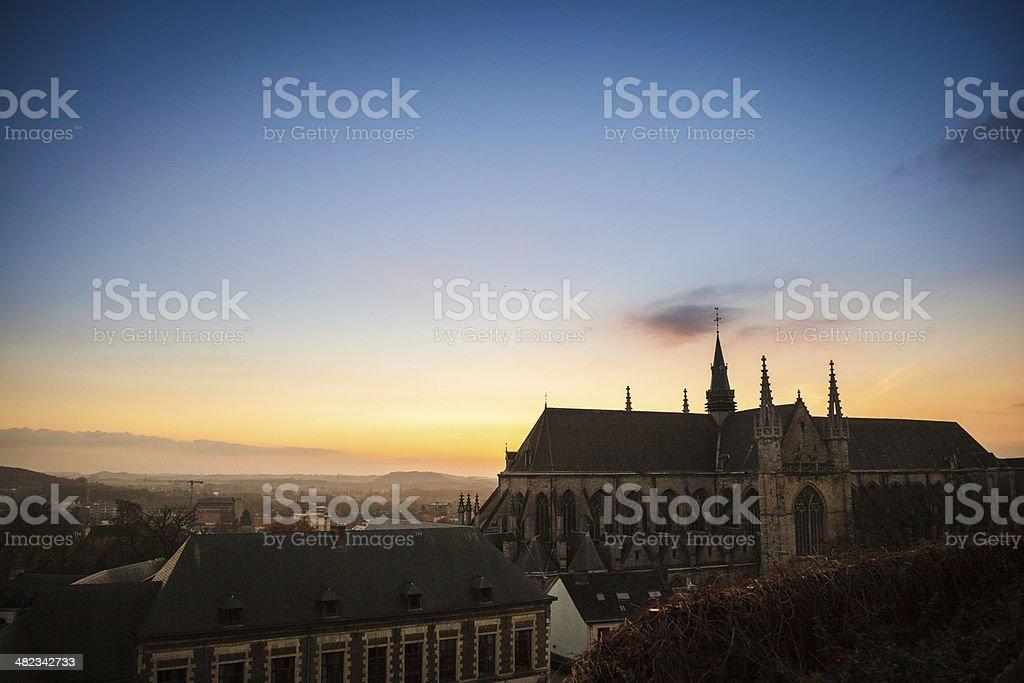 Sunset over Mons stock photo