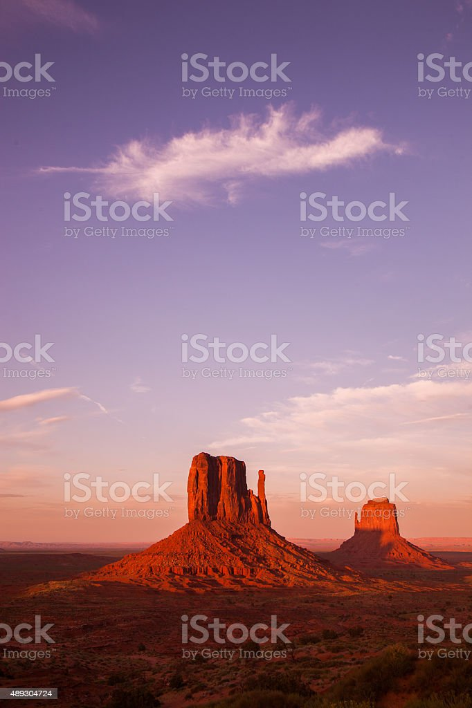 Sunset over Monument Valley stock photo
