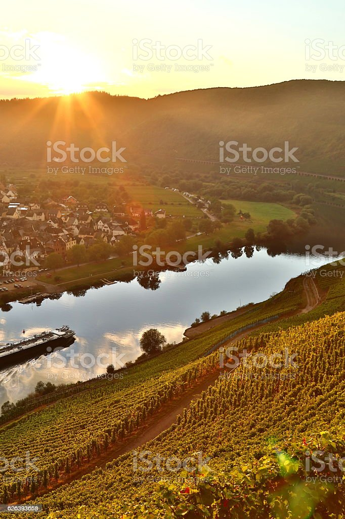 sunset over moselle valley stock photo