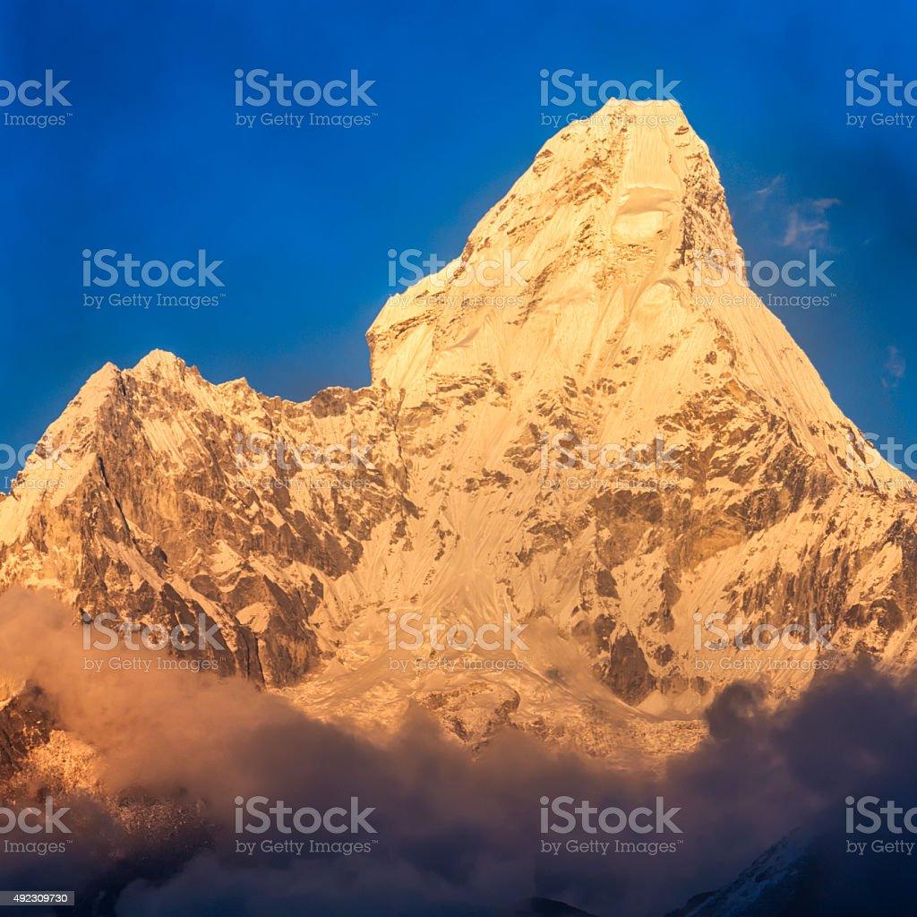 Sunset over Mount Ama Dablam, Himalayas, Nepal stock photo