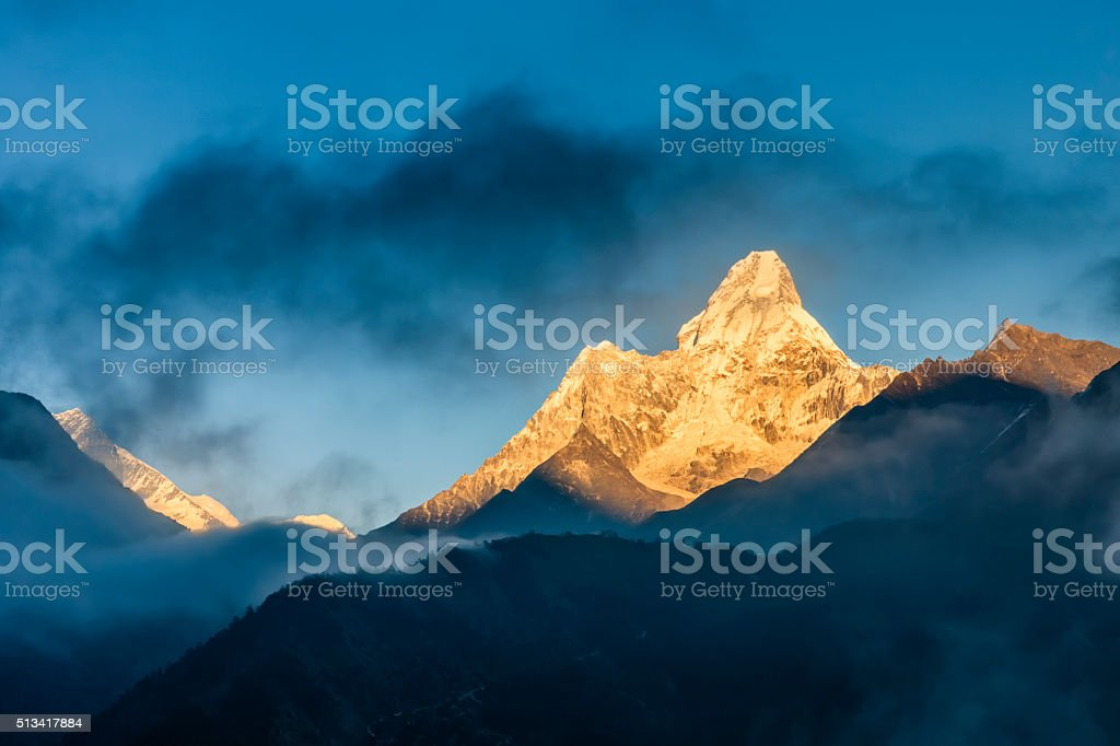 Sunset over Mount Ama Dablam, Himalayas, Nepal stock photo
