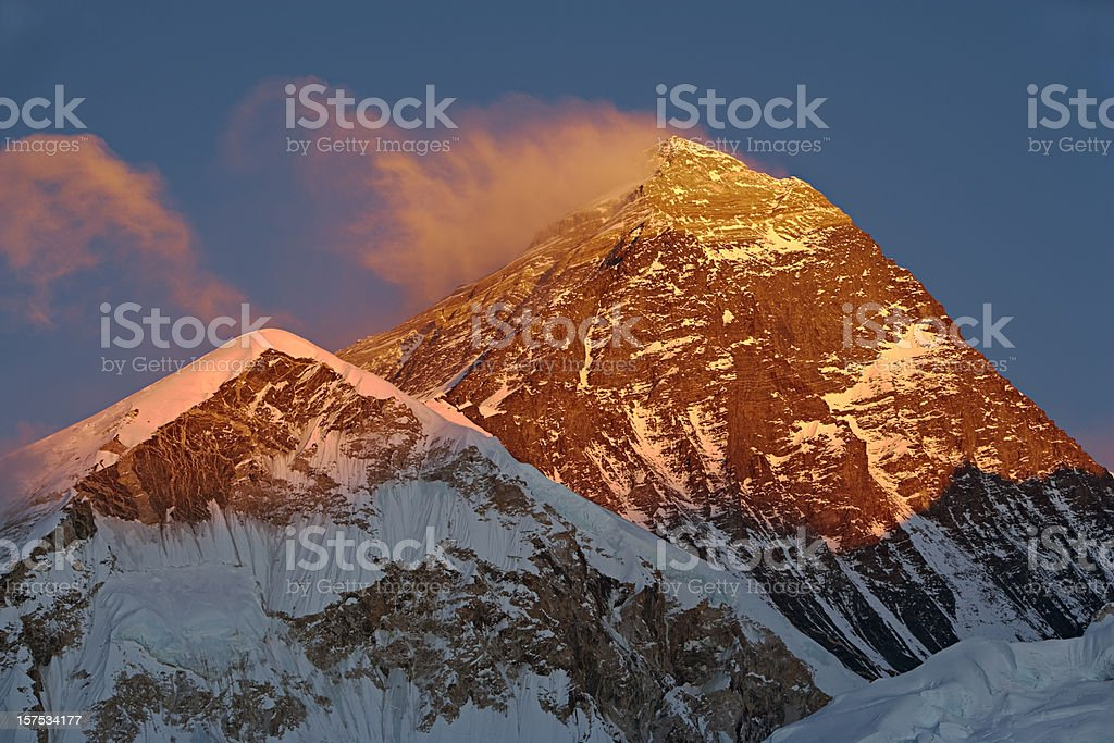 Sunset over Mount Everest royalty-free stock photo