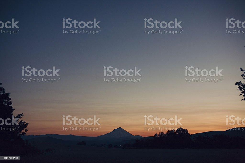 Sunset over Mount Hood stock photo
