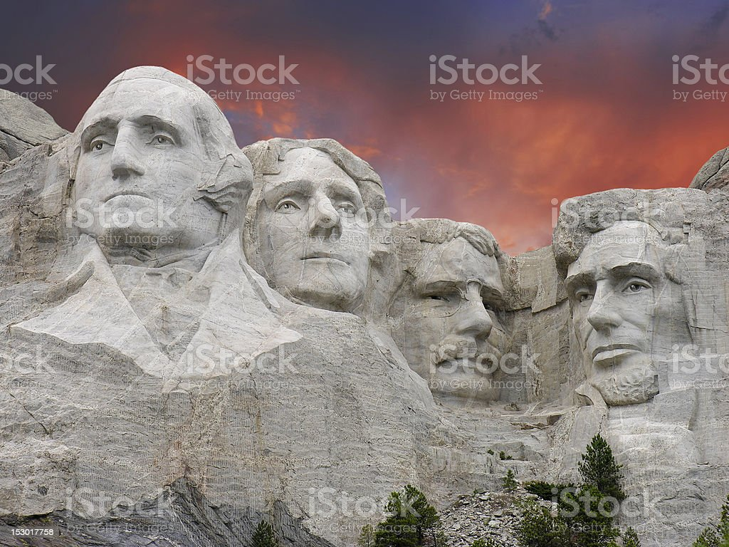 Sunset over Mount Rushmore, U.S.A. stock photo