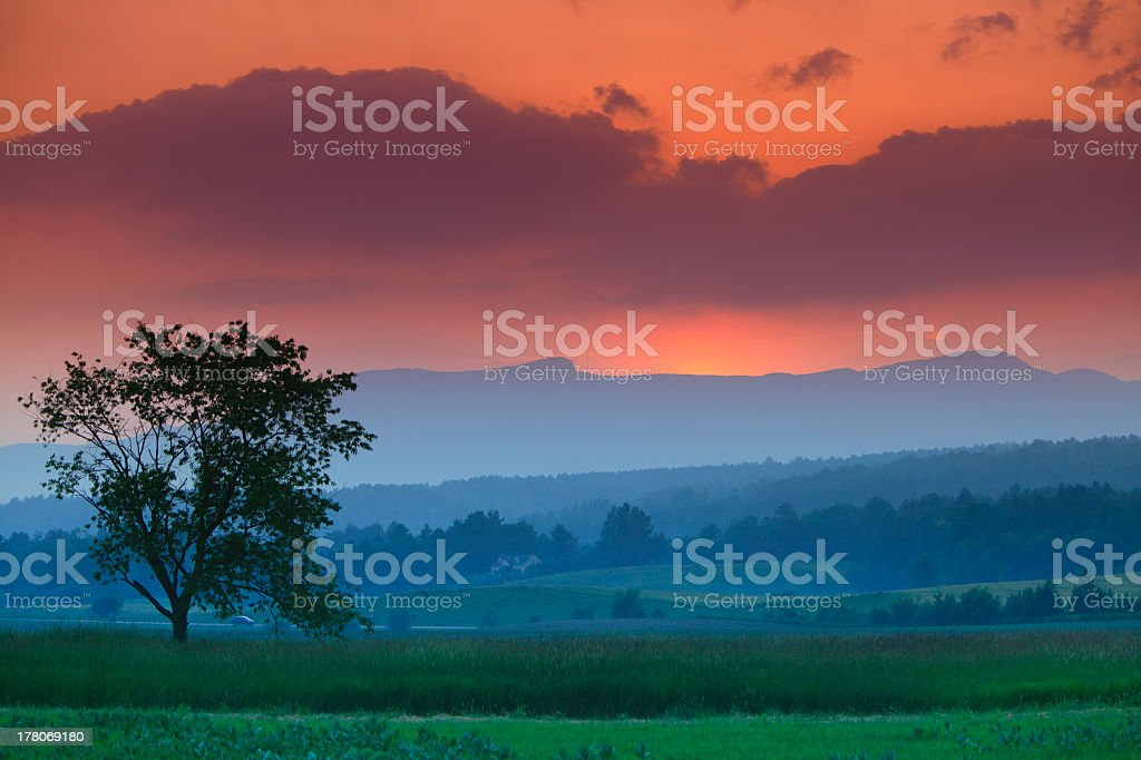 Sunset over Mt Mansfield in Stowe, Vermont stock photo