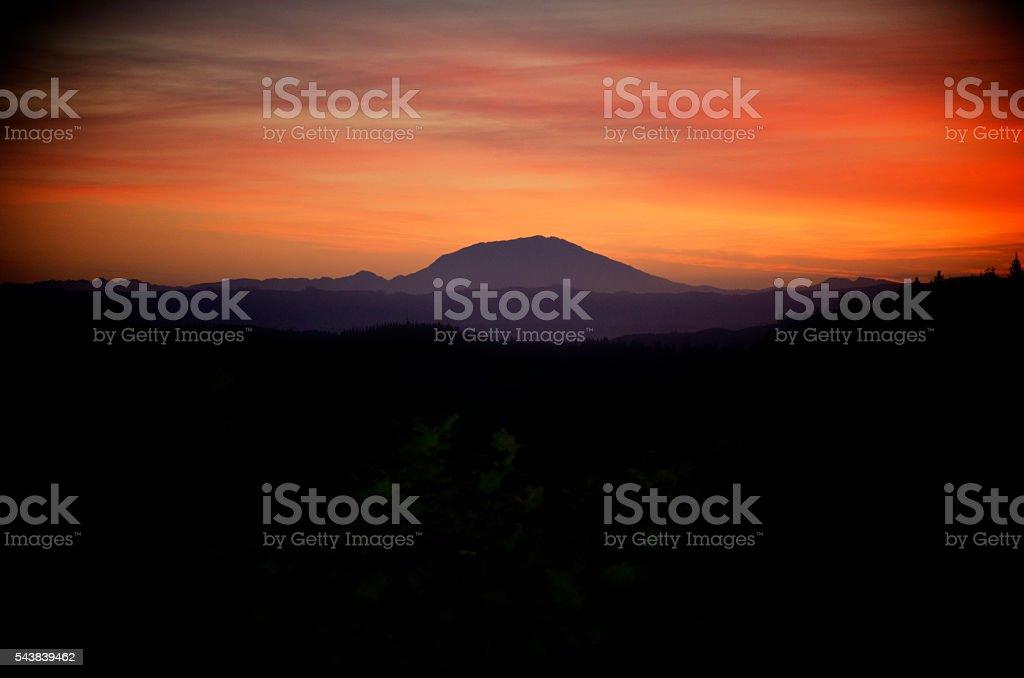 Sunset over Mt St Helens stock photo
