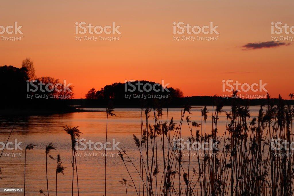 Sunset over Naantali 2 stock photo