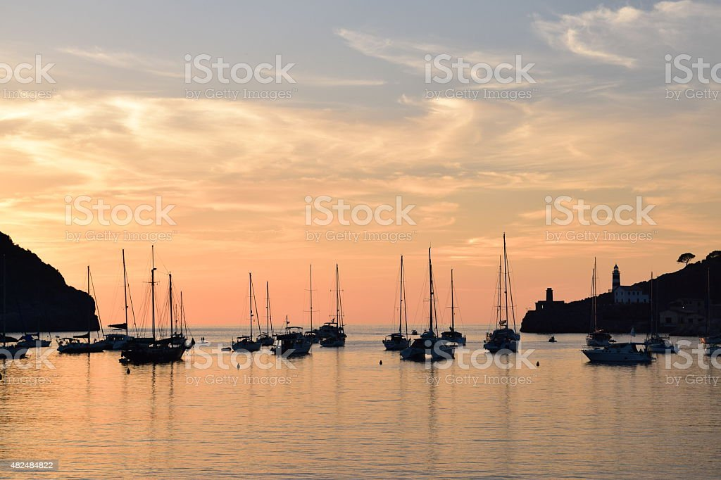 Sunset over natural harbor of Port de Soller on Majorca stock photo