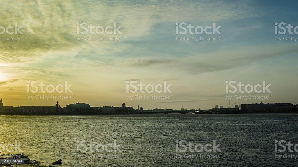 Sunset over Neva River in St Petersburg stock photo